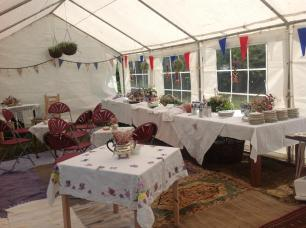 We created a lovely tea tent and used some borrowed china to really make it special.